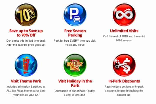 Site Perks for Season Passes Six Flags
