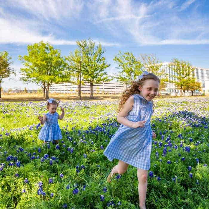 Two girls in the Bluebonnets