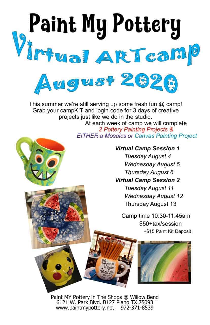 Paint My Pottery Virtual Camp