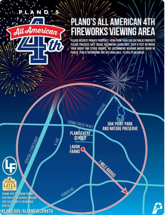 July 4th fireworks in Plano