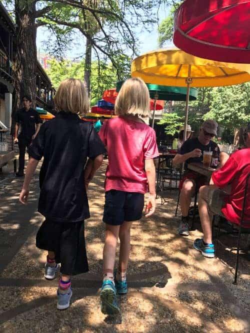 Kids on riverwalk