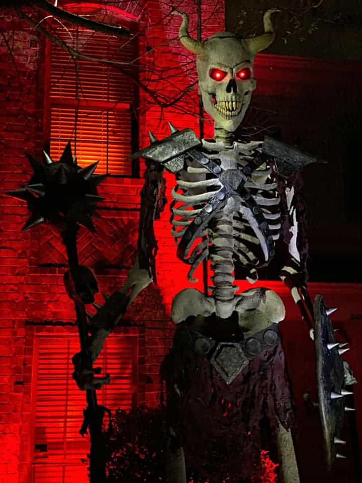 Menacing skeleton Trick or Treating Halloween in Plano TX